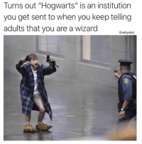 "Meme, Pictures, and Wizard: Turns out ""Hogwarts"" is an institution  you get sent to when you keep telling  adults that you are a wizard  @wittyidiot 48 Just Viral Funniest Meme Pictures Dump of the Day"