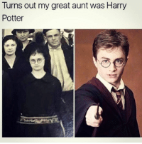 Harry Potter, Memes, and 🤖: Turns out my great aunt was Harry  Potter Aunt Mavis looks more like Harry Potter than Harry Potter looks like Harry Potter.