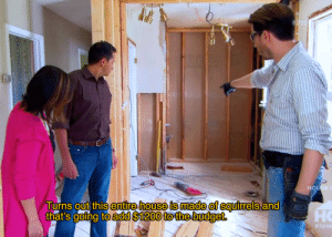 Every episode of Property Brothers: Turns out this entire house is made of squirrels and  но  ing to add $1200 to the budget.  # love Every episode of Property Brothers