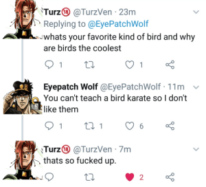 Yare yare: 'Turz® @TurzVen · 23m  Replying to @EyePatchWolf  whats your favorite kind of bird and why  are birds the coolest  Eyepatch Wolf @EyePatchWolf · 11m  You can't teach a bird karate so I don't  like them  27 1  6.  Turz® @TurzVen · 7m  thats so fucked up.  2 Yare yare
