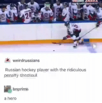 Funny, Hockey, and Memes: tutneftarena.ru  2  weirdrussians  Russian hockey player with the ridiculous  penally shoaloul  bnprime  a hero Follow my other account @antisocialtv for more funny videos 😂