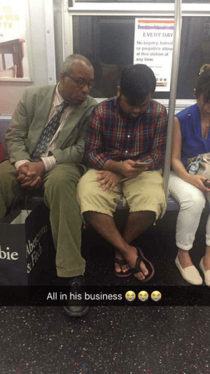 Phone, Subway, and Business: TV  EVERY DAY  No bigotry hatred  or prejudice allow  at this station at  any time  bie  All in his business  Aberca  &Finch World's nosiest subway rider can't stop looking at literally everyone else's phone.