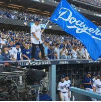 Dodgers, Memes, and Game: TV  ORLD SERIES SAt Bat Honored to be asked to wave @dodgers  flag before game 1 of the #worldseries @mariolopezextra was waving it with me #chingon #Repost @mlbdodgers2017 ・・・ @georgelopez 10.24.17