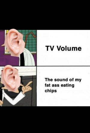 Ass, Ass Eating, and Fat Ass: TV Volume  The sound of my  fat ass eating  chips Doesn't bother me at all, nah