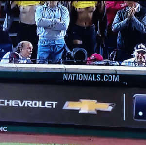 Pitcher distraction spotted during the World Series game tonight…: tw  TA  NATIONALS.COM  CHEVROLET  NC Pitcher distraction spotted during the World Series game tonight…