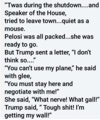 """Funny, Love, and Shit: """"Twas during the shutdown....and  Speaker of the House,  tried to leave town...quiet as a  mouse.  Pelosi was all packed...she was  ready to go.  But Trump sent a letter, """"l don't  think so....  """"You can't use my plane,"""" he said  with glee,  """"You must stay here and  negotiate with me!""""  She said, """"What nerve! What gall!""""  Trump said, """" Tough shit! I'm  getting my wall!"""""""