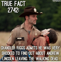 Swipe to see what Chandler says! walkingdead twd thewalkingdead cr @entertainmenttruefacts: TWDTRUEFACTS  TRUE FACT  2742:  CHANDLER RIGGS ADMITS HE WAS VERY  SHOCKED TO FIND OUT ABOUT ANDREW  LINCOLN LEAVING THE WALKING DEAD Swipe to see what Chandler says! walkingdead twd thewalkingdead cr @entertainmenttruefacts