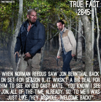 Plot twist: Shane never dies, Shane has been stalking Rick's group for a long time, teams up with Daryl and Maggie, then those 3 take Rick out and Shane becomes the leader of the group. 🤯🤯🤯 TheWalkingDead: TWDTRUEFACTS  TRUE FACT  2845  WHEN NORMAN REEDUS SAW JON BE  ON SET FOR SEASON 9. IT WASNT A BIG DEAL FOR  HIM TO SEE AN OLD CAST MATE YOU KNOW I SEE  JON ALL OF THE TIME ALREADY, SO. TO ME I WAS  JUST LKE. HE ASSHOE  EWELCOME BACKI Plot twist: Shane never dies, Shane has been stalking Rick's group for a long time, teams up with Daryl and Maggie, then those 3 take Rick out and Shane becomes the leader of the group. 🤯🤯🤯 TheWalkingDead