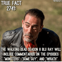 Cr @entertainmenttruefacts twd thewalkingdead walkingdead: TWDTRUEFACTS  TRUE FACT  THE WALKING DEAD SEASON 8 BLU RAY WILL  INCLUDE COMMENTARIES ON THE EPISODES  MONSTERS SOME GUY. AND 7WRATH Cr @entertainmenttruefacts twd thewalkingdead walkingdead