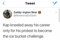 Blackpeopletwitter, Protest, and Bear: Tweet  1  Zaddy-ington Bear  @ReverendDrDash  Kap kneeled away his career  only for his protest to become  the ice bucket challenge. <p>Raise awareness (via /r/BlackPeopleTwitter)</p>