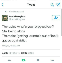 Being Alone, Guess, and Dank Memes: Tweet  2  You Retweeted  David Hughes  @david8hughes  Therapist: what's your biggest fear?  Me: being alone  Therapist [getting tarantula out of box]:  guess again idiot  11/5/15, 10:20 AM  2,295 RETWEETS 3,692 LIKES