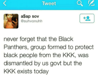 Memes, Black Panther, and Black Panthers: Tweet  a$ap sov  suhvonuhh  never forget that the Black  Panthers, group formed to protect  black people from the KKK, was  dismantled by us govt but the  KKK exists today Never forget! 💯 Y'all should look up COINTELPRO and how the US Government targeted domestic social justice organizations and activists while leaving the KKK pretty much alone. COINTELPRO MartinLutherKingJr MalcomX cesarchavez BlackPanther kkk blacklivesmatter whitesupremacy