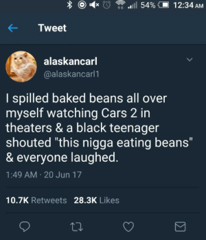 "Baked, Cars, and Black: Tweet  alaskancarl  @alaskancarl1  I spilled baked beans all over  myself watching Cars 2 in  theaters & a black teenager  shouted ""this nigga eating beans""  & everyone laughed  1:49 AM 20 Jun 17  10.7K Retweets 28.3K Likes Southern politician recounts the harrowing experience that led to his support of the Jim Crow Laws (1870s, recreated)"