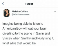 gavin and stacey: Tweet  Aleisha Collins  @aleishasummer  Imagine being able to listen to  American Boy without your brain  diverting to the scene in Gavin and  Stacey when Smithy and Rudy sing it,  what a life that would be