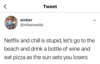 Chill, Netflix, and Netflix and Chill: Tweet  amber  @mberwebb  Netflix and chill is stupid, let's go to the  beach and drink a bottle of wine and  eat pizza as the sun sets you losers