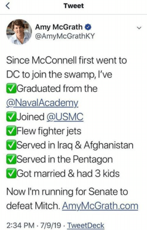 Union Thugs: Tweet  Amy McGrath  @AmyMcGrathKY  Since McConnell first went  DC to join the swamp, l've  Graduated from the  @NavalAcademy  Joined @USMC  Flew fighter jets  Served in Iraq & Afghanistan  Served in the Pentagon  Got married & had 3 kids  Now I'm running for Senate to  defeat Mitch. AmyMcGrath.com  2:34 PM 7/9/19 TweetDeck Union Thugs