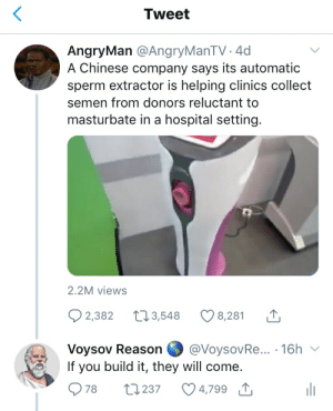 Chinese, Hospital, and Reason: Tweet  AngryMan @AngryManTV. 4d  A Chinese company says its automatic  sperm extractor is helping clinics collect  semen from donors reluctant to  masturbate in a hospital setting.  2.2M views  2,382 3,548  8,281  Voysov Reason  If you build it, they will come.  @VoysovRe... .16h  78  t1237  4,799