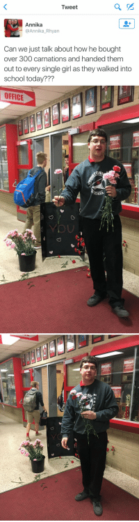 Funny, Eris, and Carnation: Tweet  Annika  @Annika Rhyan  Can we just talk about how he bought  over 300  carnations and handed them  out to every single girl as they walked into  school today???   OFFICE   MASCO  eri This warms my heart 😭❤