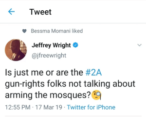 Iphone, Memes, and Twitter: Tweet  Bessma Momani liked  Jeffrey Wright *  @jfreewright  Is just me or are the #2A  gun-rights folks not talking about  arming the mosques?9  12:55 PM-17 Mar 19 Twitter for iPhone