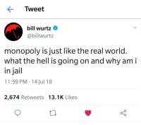 What The Hell Is Going On: Tweet  bill wurtz  @billwurtz  monopoly is just like the real world.  what the hell is going on and why am i  in jail  11:59 PM 14 Jul 18  2,674 Retweets 13.1K Likes