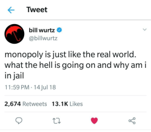 Dank, Jail, and Memes: Tweet  bill wurtz  @billwurtz  monopoly is just like the real world.  what the hell is going on and why am i  in jail  11:59 PM 14 Jul 18  2,674 Retweets 13.1K Likes Aaah whats happening??? by scratchyone MORE MEMES