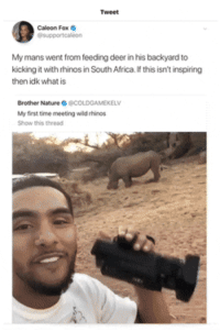 Smdh and they tried to cancel him: Tweet  Caleon Fox  supportealeon  My mans went from feeding deer in his backyard to  kicking it with rhinos in South Africa. If this isn't inspiring  then idk what is  Brother Nature宋@COLDGAMEKELV  My first time meeting wild ehinos  Show this thread Smdh and they tried to cancel him