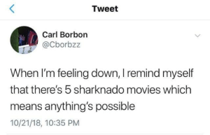 sharknado: Tweet  Carl Borbon  @Cborbzz  When I'm feeling down, I remind myself  that there's 5 sharknado movies which  means anything's possible  10/21/18, 10:35 PM