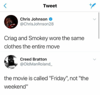"Clothes, Friday, and Creed: Tweet  Chris Johnson  @ChrisJohnson28  Criag and Smokey wore the same  clothes the entire move  Creed Bratton  @OldManRoland  the movie is called ""Friday"", not ""the  weekend"" 😂😂😂😂😂😂"
