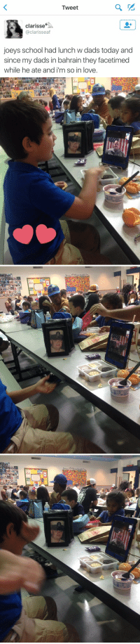 """This is the cutest thing ever 😭😍 They even freaking dabbed together 😂 https://t.co/sgcSSuwqWr: Tweet  Clarisse""""  @clarisseaf  joeys school had lunch w dads today and  since my dads in bahrain they facetimed  while he ate and i'm so in love. This is the cutest thing ever 😭😍 They even freaking dabbed together 😂 https://t.co/sgcSSuwqWr"""