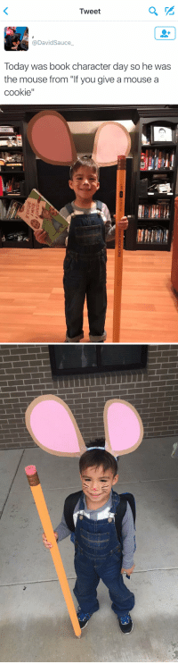 """Cookies, Memes, and Shoes: Tweet  David Sauce  a Today was book character day so he was  the mouse from """"If you give a mouse a  cookie""""   RACK ROOM SHOES  why stop at  pair?   Hi HIS EARS IM EMOTIONAL 😩 how cute"""