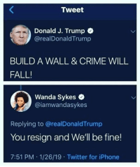 Tell em Wanda!: Tweet  Donald J. Trump C  @realDonaldTrump  BUILD A WALL & CRIME WILL  FALL!  Wanda Sykes  @iamwandasykes  Replying to @realDonaldTrump  You resign and We'll be fine!  7:51 PM 1/26/19 Twitter for iPhone Tell em Wanda!
