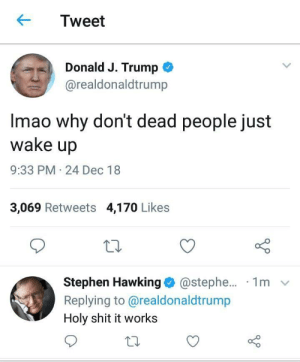 Dank, Memes, and Shit: Tweet  Donald J. Trump  @realdonaldtrump  Imao why don't dead people just  wake up  9:33 PM 24 Dec 18  3,069 Retweets 4,170 Likes  Stephen Hawking @stephe... 1m v  Replying to @realdonaldtrump  Holy shit it works Wow, It works! by RedditUserGary MORE MEMES