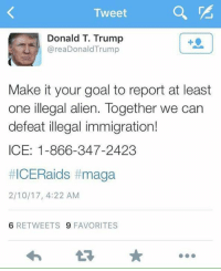 Make the call!  ~Pandora   Minuteman Militia: Tweet  Donald T. Trump  area Donald Trump  Make it your goal to report at least  one illegal alien. Together we can  defeat illegal immigration!  ICE: 1-866-347-2423  #ICERaids t maga  2/10/17, 4:22 AM  6 RETWEETS 9 FAVORITES Make the call!  ~Pandora   Minuteman Militia