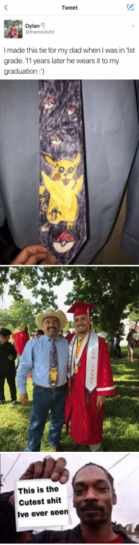 Dad, Funny, and Shit: Tweet  Dylan  athemind ofd  made this tie for my dad when l was in 1st  grade. 11 years later he wears it to my  graduation   等  败   웃   This is the  Cutest shit  Ive ever seen https://t.co/aBECMyTf7V