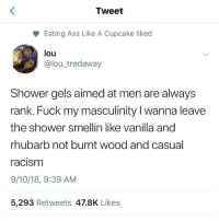 Ass, Shower, and Fuck: Tweet  Eating Ass Like A Cupcake liked  lou  @lou_tredaway  Shower gels aimed at men are always  rank. Fuck my masculinity I wanna leave  the shower smellin like vanilla and  rhubarb not burnt wood and casual  acism  9/10/18, 9:39 AM  5,293 Retweets 47.8K Likes 😂😂😂😂😂😂😂