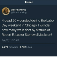 All Lives Matter, America, and Chicago: Tweet  Elder Lansing  @ElderLansing  4 dead 26 wounded during the Labor  Day weekend in Chicago. I wonder  how many were shot by statues of  Robert E. Lee or Stonewall Jackson!  9/4/17, 11:37 AM  2,270 Retweets 3,792 Likes Repost @break.the.fake Right Like my post? Check out my friends: @american.veterans @_americafirst_ @american.police americanmade🇺🇸 patriot patriots americanpatriots politics conservative libertarian patriotic republican usa america americaproud wethepeople republican freedom secondamendment MAGA PresidentTrump alllivesmatter america