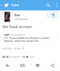 Bank, Nice, and Her: Tweet  Eva  @Evalbiam  Her bank account  oish* @maliksbefour  217. If you wanted one of Kylie's (Jenner)  features, which one would it be?  8:44 PM-18 Dec 15  26.1K RETWEETS 17.3K LIKES Nice choice.