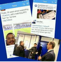 """Pure class by Everton tonight!: Tweet  GrandOldTeam.com agrandoldt... sm  Tweet  mayo Gessayeff Bric wee  @Everton He's in the Joe Mercer  Finally, 30 years since supporting  will b """"live"""" for 1st time.  @My Toffees  Helen Mayo  to helenmayo  agrandoldteam  essay eff  @ric wee Everton We've found  him. And are taking him to meet  some of his heroes right now.  014 19:56  12/02/2014 18  Reply to  Timelines Pure class by Everton tonight!"""