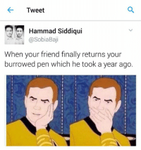 Memes, 🤖, and Burrow: Tweet  Hammad Siddiqui  Sobia Baji  When your friend finally returns your  burrowed pen which he took a year ago. Oh pen!