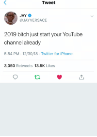 Bitch, Iphone, and Jay: Tweet  JAY  @JAYVERSACE  2019 bitch just start your YouTube  channel already  5:54 PM 12/30/18 Twitter for iPhone  3,050 Retweets 13.5K Likes