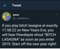 """Bitch, Jesus, and New Year's: Tweet  jesus  @_joaojesus  if you play bitch lasagna at exactly  11:58:22 on New Years Eve, you  will hear Pewdiepie shout """"BITCH  LASAGNA"""" as soon as you enter  2019. Start off the new year right!"""