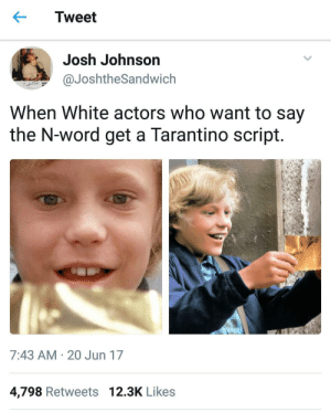 Its OK if Quentin wrote it: Tweet  Josh Johnson  aJoshtheSandwich  When White actors who want to say  the N-word get a Tarantino script  7:43 AM 20 Jun 17  4,798 Retweets 12.3K Likes Its OK if Quentin wrote it
