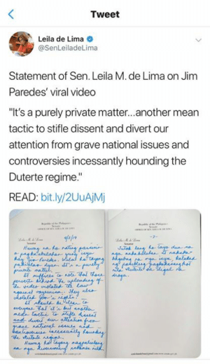 "Pati pagjaj*kol nung kakampi nila kasalanan na naman ni Duterte.: Tweet  Leila de Lima  @SenLeiladeLima  Statement of Sen. Leila M. de Lima on Jim  Paredes' viral video  ""It's a purely private matter...another mean  tactic to stifle dissent and divert our  attention from grave national issues and  controversies incessantly hounding the  Duterte regime.""  READ: bit.ly/2UuAjM  STA  ur Pati pagjaj*kol nung kakampi nila kasalanan na naman ni Duterte."