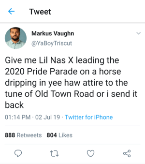 Iphone, Nas, and Shit: Tweet  Markus Vaughn  @YaBoyTriscut  Give me Lil Nas X leading the  2020 Pride Parade on a horse  dripping in yee haw attire to the  tune of Old Town Road or i send it  back  01:14 PM 02 Jul 19 Twitter for iPhone  888 Retweets 804 Likes And leave all the homophic shit in the back