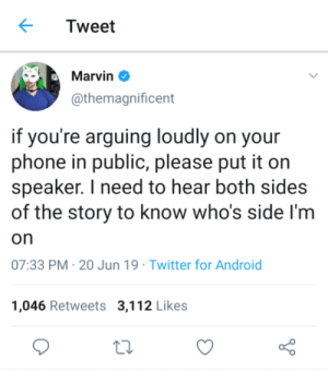 meirl: Tweet  Marvin  @themagnificent  if you're arguing loudly on your  phone in public, please put it on  speaker. I need to hear both sides  of the story to know who's side I'm  on  07:33 PM 20 Jun 19 Twitter for Android  1,046 Retweets 3,112 Likes meirl
