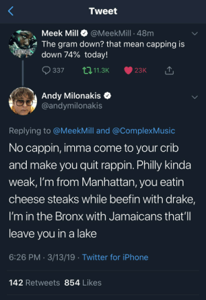 Blackpeopletwitter, Drake, and Funny: Tweet  Meek Mill @MeekMill 48m  The gram down? that mean capping is  down 74% today!  mie  337 11.3K 23K  Andy Milonakis C  @andymilonakis  Replying to @MeekMill and @ComplexMusic  No cappin, imma come to your crib  and make you quit rappin. Philly kinda  weak, I'm from Manhattan, you eatin  cheese steaks while beetin with drake,  I'm in the Bronx with Jamaicans that'll  leave vou in a lake  6:26 PM-3/13/19 Twitter for iPhone  142 Retweets 854 Likes Got peas on my head, but don't call me a peahead