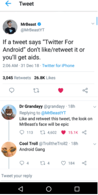 Tweet MrBeast if a Tweet Says Twitter for Android Don't