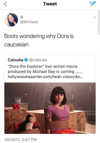 "Apparently, Ariel, and Children: Tweet  @Mvriaarn  Boots wondering why Dora is  caucasiarn  Catsuka @catsuka  ""Dora the Explorer"" live-action movie  produced by Michael Bay is coming..  hollywoodreporter.com/heat-vision/do...  35  10/24/17, 2:47 PM <p><a href=""http://keyhollow.tumblr.com/post/169357739925/rose-owl-anais-ninja-blog"" class=""tumblr_blog"">keyhollow</a>:</p>  <blockquote><p><a href=""https://rose-owl.tumblr.com/post/169356824380/anais-ninja-blog-howdidthisevenhappenanyway"" class=""tumblr_blog"">rose-owl</a>:</p><blockquote> <p><a href=""http://anais-ninja-blog.tumblr.com/post/169350897422/howdidthisevenhappenanyway-this-makes-me-so"" class=""tumblr_blog"">anais-ninja-blog</a>:</p> <blockquote> <p><a href=""https://howdidthisevenhappenanyway.tumblr.com/post/169350075891/this-makes-me-so-uncomfortable-for-so-many-reasons"" class=""tumblr_blog"">howdidthisevenhappenanyway</a>:</p>  <blockquote><p>this makes me so uncomfortable for so many reasons </p></blockquote>  <p>omg, okay, I was gonna let this shit go because it's a tempest in a teacup, but otherwise smart people keep reblogging it talking about whitewashing and sexualizing children's media.</p> <p>so here's the facts: </p> <p>apparently Michael Bay's production company has optioned Dora the Explorer, but as of earlier this week when I looked it up, Bay himself is barely creatively involved, and no casting has been announced. (<a href=""http://ew.com/movies/2017/10/23/dora-explorer-live-action-movie-michael-bay/"">http://ew.com/movies/2017/10/23/dora-explorer-live-action-movie-michael-bay/</a>)</p> <p>that image? that is NOT a production still from Bay's Dora, okay???? that's from a YEARS OLD COLLEGE HUMOR SPOOF. (<a href=""https://youtu.be/TnpTcrtsN3U"">https://youtu.be/TnpTcrtsN3U</a>)</p> <p>now, this could still very well end up being a disaster for any number of reasons, but as of now, it's just more sharing clickbait without having actually clicked.</p> </blockquote>  <p>You mean people took this seriously?</p> <figure class=""tmblr-full"" data-orig-height=""304"" data-orig-width=""540"" data-tumblr-attribution=""ungifable:vIyPO3UUEFww15y5Ov0Mfw:Ztp7Vq2DrXLSC""><img src=""https://78.media.tumblr.com/5ec378cedf05c7d41adacc42036cbbaa/tumblr_ofl23jcWjZ1si3tc1o1_540.gif"" data-orig-height=""304"" data-orig-width=""540""/></figure></blockquote>  <p>Even IF, </p><p><br/></p><p>Did everyone forget white Mexicans are a thing? Spaniards? Anybody? </p></blockquote>  <p>I'M SCREAMING. I immediately recognized that screenshot from the spoof with Ariel Winter. I cannot believe people.</p>"