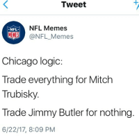 Chicago, Jimmy Butler, and Logic: Tweet  NFL*  NFL Memes  MEMES@NFL_Memes  Chicago logic:  Trade everything for Mitch  Trubisky  Trade Jimmy Butler for nothing  6/22/17, 8:09 PM 💀💀