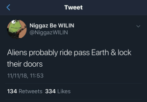 Dank, Ghetto, and Memes: Tweet  Niggaz Be WILIN  @NiggazWILIN  Aliens probably ride pass Earth & lock  their doors  11/11/18, 11:53  134 Retweets 334 Likes Earth is the ghetto of the universe by Fatal_Ligma MORE MEMES